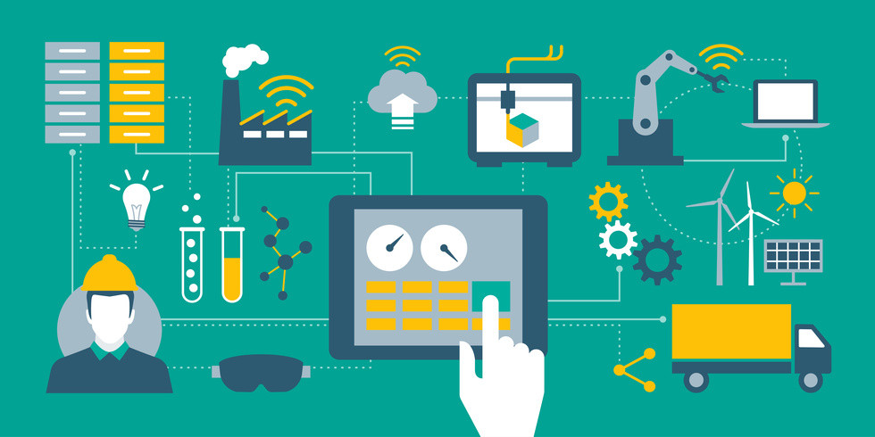 Industry 4.0, automation, internet of things concepts and tablet with human machine interface